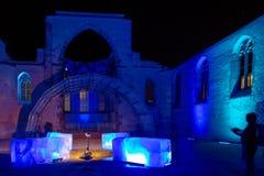 Nuremberg-Blaue Nacht (blå natt) festival 2016 arkivfoton