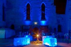 Nuremberg-Blaue Nacht (blå natt) festival 2016 royaltyfri bild