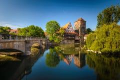 Nuremberg. Bridges of Nuremberg -Pegnitz river, Bayern, Germany Royalty Free Stock Photos