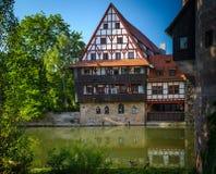 Nuremberg. Bridges of Nuremberg -Pegnitz river, Bayern, Germany Royalty Free Stock Photography