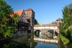Nuremberg. Bridges of Nuremberg -Pegnitz river, Bayern, Germany Royalty Free Stock Photo