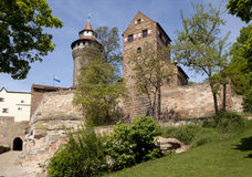 Nuremberg castle. View to Nuremberg castle with two towers, Germany. Springtime Royalty Free Stock Image