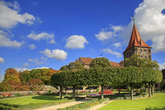 Nuremberg Castle with blue sky and trees Stock Photos
