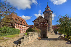 Nuremberg Castle (Sinwell tower) with blue sky and clouds Royalty Free Stock Photo