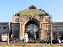 Nuremberg Central railway Station façade in Neo-Baroque style Stock Photo