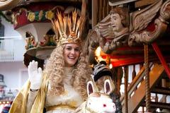 Nuremberg Christkind - símbolo do mercado do Natal no carrossel histórico Imagens de Stock