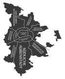 Nuremberg city map Germany DE labelled black illustration. Nuremberg city map Germany DE labelled black Royalty Free Stock Images