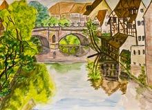 Nuremberg, cuadro pintado a mano stock de ilustración