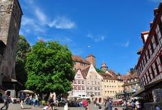 Nuremberg, Duitsland - Mei 20, 2018: Plaats in Tiergaertnertor stock fotografie