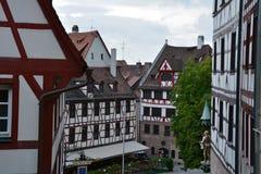 Nuremberg. Fachwerk houses in old center of Nuremberg Stock Photo