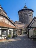 Nuremberg, Franconia, Germany. Handwerkerhof and Koenigstor Tower in Nuremberg, Middle Franconia, Franconia, Bavaria, Germany, Europe stock photography