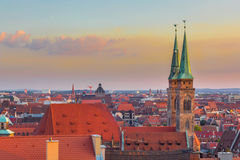 Nuremberg-Germany- beautiful sunset aerial view Stock Photography
