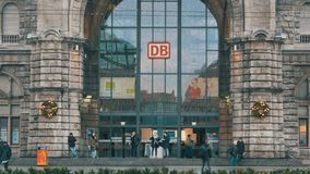 Nuremberg, Germany - December 1, 2018: Nuremberg Central Station. View of a main entrance with the logotype of the. Nuremberg, Germany - December 1, 2018 stock footage