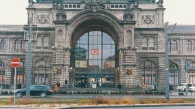 Nuremberg, Germany - December 1, 2018: Nuremberg Central Station. View of a main entrance with the logotype of the. Nuremberg, Germany - December 1, 2018 stock video