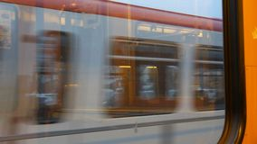 Nuremberg, Germany - December 3, 2018: Almost empty the subway car metro trains. View from the window to another metro stock video footage