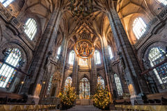 Nuremberg, Germany – December 30, 2016: St. Lorenz church Royalty Free Stock Images