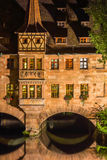 Nuremberg, Germany-Heilig Geist Spital- night scene stock image
