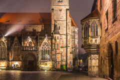 Nuremberg-Germany- medieval St. Sebald Church by night stock image