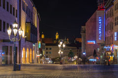 Nuremberg-Germany- night scene- Royal Strasse Royalty Free Stock Photos