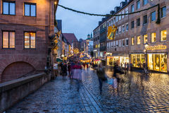 Nuremberg, Germany-old town at dusk-christmas time Royalty Free Stock Image