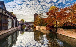 Nuremberg-Germany-old town-river mirror cityscape Royalty Free Stock Images