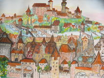 Nuremberg, Germany, painting. This is a photocopy of my own picture, watercoloured painting/ Town Nuremberg, Germany Royalty Free Stock Photography