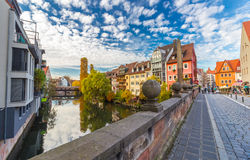 Nuremberg-Germany-river, bridges scene Royalty Free Stock Photos