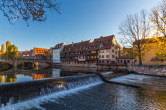 Nuremberg-Germany-river Pegnitz in downtown. Nuremberg-Germany-sunset golden hour scenery- old town, river Pegnitz, Max bridge Stock Photos