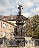 NUREMBERG, GERMANY - SEPTEMBER 04, 2015: Photo of Fountain of the Virtues. Royalty Free Stock Images