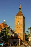 Nuremberg, Germany-White Tower-golden sunlight Stock Images