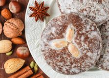 Nuremberg gingerbread with nuts almonds, hazelnuts, walnuts in sugar glaze. Lebkuchen. Traditional Christmas and new year treats. Cinnamon, anise and cardamom stock image