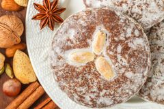 Nuremberg gingerbread with nuts almonds, hazelnuts, walnuts in sugar glaze. Lebkuchen. Traditional Christmas and new year treats. Cinnamon, anise and cardamom royalty free stock image