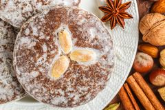 Nuremberg gingerbread with nuts almonds, hazelnuts, walnuts in sugar glaze. Lebkuchen. Traditional Christmas and new year treats. Cinnamon, anise and cardamom royalty free stock images