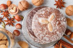 Nuremberg gingerbreads with nuts almonds, hazelnuts, walnuts in chocolate and sugar glaze. Lebkuchen. Traditional Christmas and new year treats. Cinnamon stock images