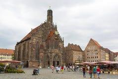 Nuremberg Hauptmarkt Arkivbilder