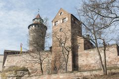 The Nuremberg Imperial Castle Keiserburg and its Sinnwell tower from Holy Roman Empire - Nuremberg, Germany. The Nuremberg Imperial Castle Keiserburg and its royalty free stock photography