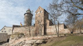 The Nuremberg Imperial Castle Keiserburg and its Sinnwell tower from Holy Roman Empire - Nuremberg, Germany. The Nuremberg Imperial Castle Keiserburg and its royalty free stock images