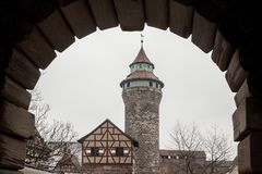 The Nuremberg Imperial Castle Keiserburg and its Sinnwell tower from Holy Roman Empire - Nuremberg, Germany. The Nuremberg Imperial Castle Keiserburg and its royalty free stock image