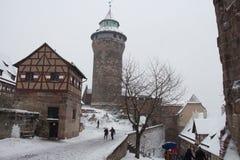 Nuremberg kasztel w zima czasie bawaria German Fotografia Royalty Free