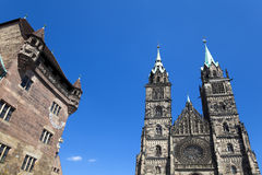 Nuremberg Landmarks. The Nassau House and St. Lorenz Church in Nuremberg (Nürnberg), Germany Royalty Free Stock Image