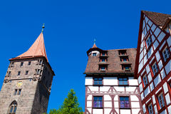 Nuremberg Landmarks. Half-timbered houses and tower of the Nuremberg castle (Nürnberg, Germany Royalty Free Stock Photography