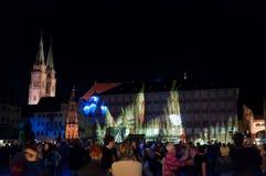Nuremberg, Niemcy - Kostkowy Blaue Nacht 2012 Zdjęcie Stock