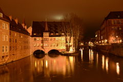 Nuremberg by night on Christmas Stock Photography