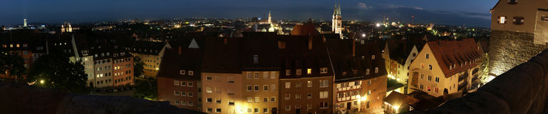 Nuremberg Night Panorama. Nightpanorama of Nuremberg's Historic Old Quarter Royalty Free Stock Photo