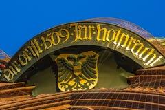 Nuremberg (Nuernberg), Alemanha detalha a igreja superior de nossa senhora Fotos de Stock