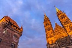 Nuremberg (Nuernberg), Tyskland-blast historiska byggnader Arkivbild