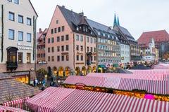 Nuremberg (Nuernberg), Tyskland-Christkindlesmarkt Royaltyfria Foton