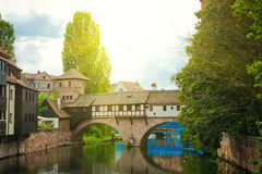 Nuremberg (Nurnberg), Germany, Europe. River detail and bridge. Royalty Free Stock Photo