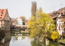 Nuremberg på floden Pegnitz Royaltyfri Bild