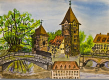 Nuremberg, painting Stock Photography